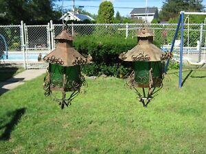 "2 Vintage 12"" x 9"" Ornate Primitive Copper & Glass Hanging Candle(?) Lanterns"