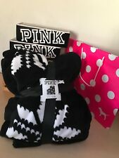 Pink Victoria's Secret Black White Snowflakes Fleece Blanket Throw 50x60 New