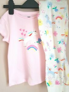 🌈 BNWT F&F White Pink Rainbow Unicorn Floral Pyjama Set 3-4 Years Post Next Day