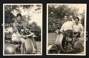 1960's Chinese girl and men on Vespa scooter photo x 2