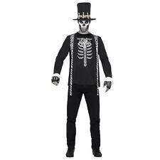 Mens Black Voodoo Skeleton King Witch Doctor Halloween Fancy Dress Costume