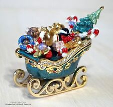 Bejeweled Enameled Christmas Trinket Box- Santa's Sleigh Filled with Presents