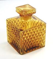 Vintage Amber Glass 16 oz Diamond Point Square Decanter