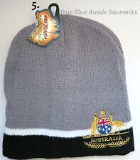 1x Australian Souvenir Beanie Grey Beanie Black & White Lining Australian Emblem
