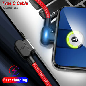 90 Degree Type C Cable LED USB Fast Charging Data Cable For Samsung S10 Huawei