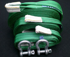 4x4 RECOVERY WINCH TOWING STROP ROPE KIT 14TON 7M/4M/2M + 2 X 3.25 TON SHACKLES