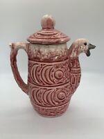 Vintage Eccentric Ceramic Pink Duck Teapot