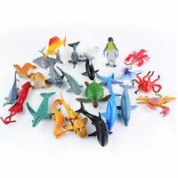 24pcs/set Mini Sea Animals Model Turtles Starfish Sharks Figure Kid Playset Toys