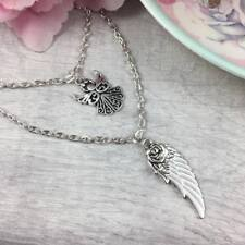 Silver LAYERED Chain ANGEL & Wing NECKLACE Pendant SPIRITUAL Protection Guardian