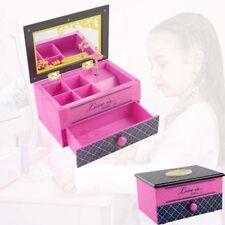 Pink Girl Music Box Children Musical Jewelry Box Rectangle with Ballerina Gift