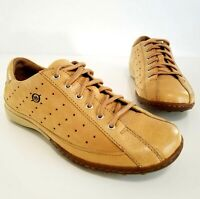 BORN Wheat Tan Leather Lace Up Shoes Retro Sneakers Perf. Casual Women's Size 7