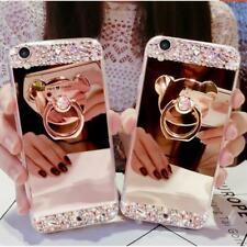 3D Girls' Mirror Bling Diamond Rhinestone Ring Kickstand Phone Soft Case Cover A
