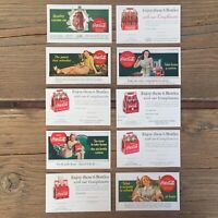 10 Original 1940s COCA COLA SODA Postcard Collection COKE Ad Coupon Cards NOS