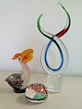 3 Murano Style Art Glass Figures Millifiori Paper Weight Pelican W Fish Twist