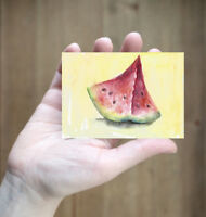 ACEO original art card watermelon painting fruits still life watercolour signed