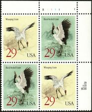 US #2867-68 Black-Necked & Whooping Crane 29c (1994) - Block of 4 Stamps MNH