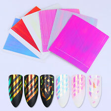 6 Sheets Adhesive Holo 3D Nail Sticker Laser Line Candy Nail Foils BORN PRETTY