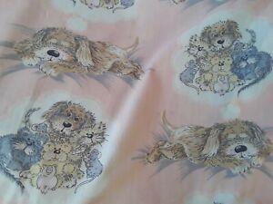 """Vintage 1980s pink SNATCH dog cat  animals childrens curtains 68 x 52"""" Sue Hall"""