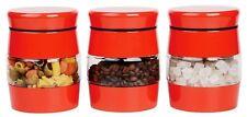 Set Of 3 Tea Coffee Sugar Jar Kitchen Canister Window Glass Storage Jar Tin Set