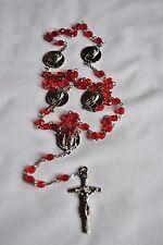 Vintage Pope John Paul II Red Beaded Religious Rosary