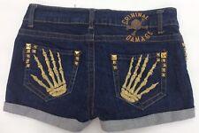 """Criminal Damage XS 26"""" Denim Hotpants Booty Shorts Pockets Skeleton Hands"""