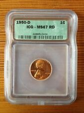 Wheat Penny 1950 D ICG Graded MS67 RD