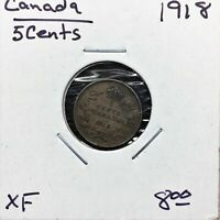 1918 Canada 5 Cents Silver Coin, King George V, XF
