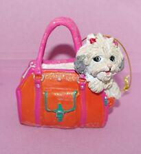 "Lhasa Apso Shih Tzu Dog In an Orange Resin Purse Bag 2.5-3"" Ornament"