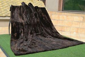 "Genuine KING Blanket Real Sheared Beaver Fur Throw Spread 87"" X 77"" rug B3861"