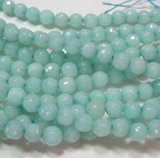 "Blue-Green ""Amazonite"" Quartz 6mm Faceted Round Beads 15"" Sparkling Translucent"