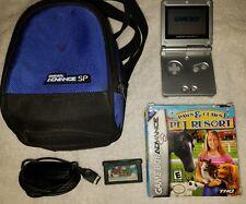 Nintendo Gameboy Advance SP Bundle - Silver - Charger - Super Mario Advance Game