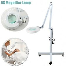5x Diopter Magnifying Floor Stand Lamp Light Magnifier Glass Beauty Salon Loupe