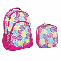 Reinforced Water Resistant Backpack and Insulated Lunch Bag - Flower Petal Burst