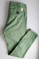 SUPERDRY DENIM MENS CHINO TROUSERS W32 L31 (M) GREEN BUTTON FLY