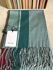 Paul Smith Ladies Scarf Green & Burgundy Silk Blended - BNWT