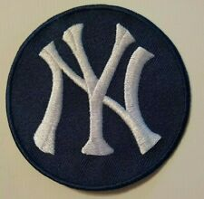 "New York Yankees NY Embroidered PATCH~3 1/2"" Round~Navy~Iron On~MLB~FREE US Mail"