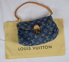 LOUIS VUITTON Blue Monogram Denim Mini Pleaty Baguette Bag w/ cover
