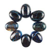 8Pcs 20x15x6mm Beautiful Black Fire Dragon Veins Agate Oval Cab Cabochon  F-bla