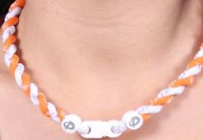 "Phiten Tornado Titanium Necklace Orange/White Size 18"" New"