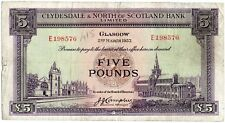 CLYDESDALE & NORTH OF SCOTLAND FIVE POUND BANKNOTE 2ND March 1953
