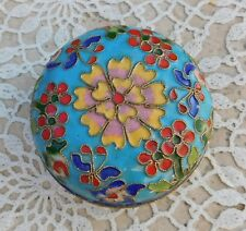 Vintage Chinese Cloisonné Box Jewelry Gift Floral Flower Enamel Asian