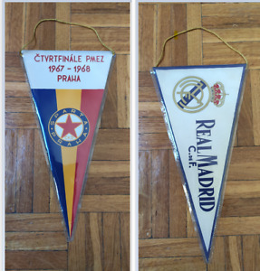 *** RARE *** VINTAGE REAL MADRID - SPARTA PRAHA 1967-1968 football pennant flag
