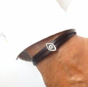 evil eye good luck sterling silver leather bracelet protection amulet hamsa men