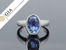 GIA Cert. Natural Unheated 5.25cts Sapphire 18K Solid Gold Solitaire Bezel Ring