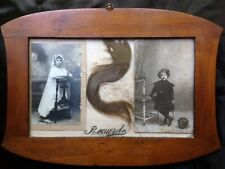 ANTIQUE EDWARDIAN HAIR PICTURE GIRL CHILD PHOTO GHOSTLY MOURNING MEMENTO MORI