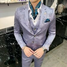 Zsell Men's Printed Suit Party Groom Wedding dress Slim Fit 3 PcsTuxedo Nightclu