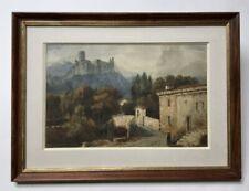 Aquarelle ancienne, paysage avec château fort. Monogramme, 1931