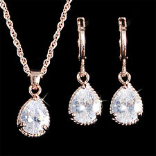 Jewelry Set 18K Gold Filled Fashion CZ Waterdrop Pendant Necklace Earrings