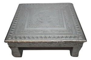 "Puja Bajot Wooden Small Chowki Table Silver Kalash - 15"" Pooja Bajot table"