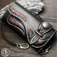 Biker Long Wallet Genuine Leather Native Design Rider Mens Chain Purse Black RD2